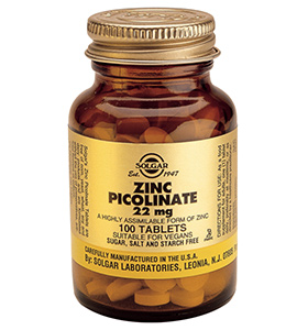 Solgar Zinc Picolinate 22mg healthy skin, hair & nails. Embrace Life